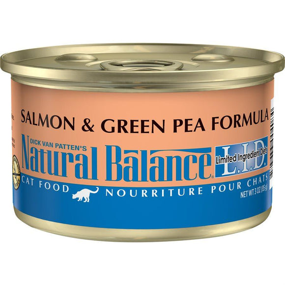 Natural Balance Cat LID Salmon & Green Pea Formula Cans 24/3oz Cat Food Natural Balance