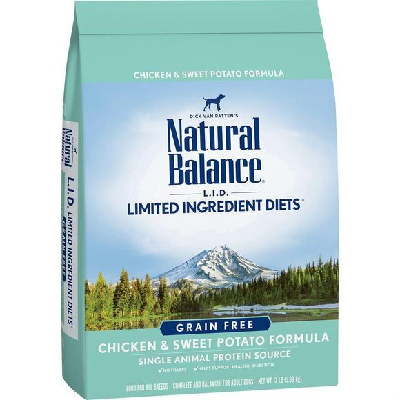 Natural Balance Dog LID Chicken & Sweet Potato Formula 13LB Dog Food Natural Balance