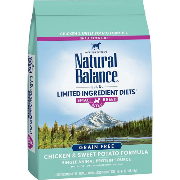 Natural Balance Dog LID Chicken & Sweet Potato Small Breed Bites Formula 12LB Dog Food Natural Balance