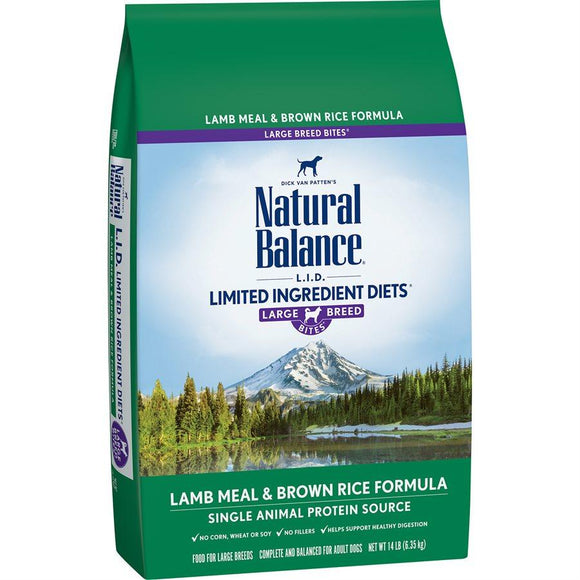 Natural Balance Dog LID Lamb Meal & Brown Rice Large Breed Bites Formula 14LB Dog Food Natural Balance