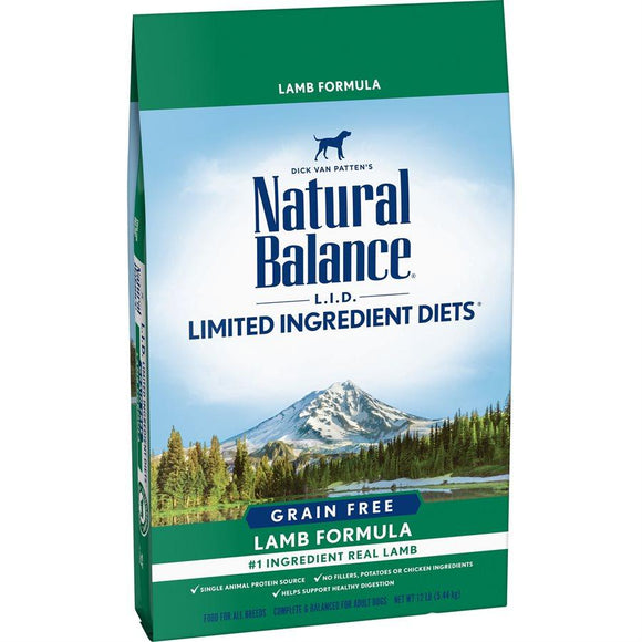 Natural Balance Dog LID Grain Free Lamb Formula 12LB Dog Food Natural Balance