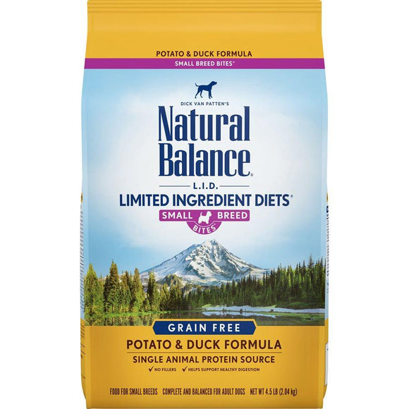 Natural Balance Dog LID Potato & Duck Small Breed Bites Formula 4.5LB Dog Food Natural Balance