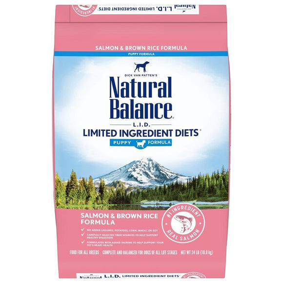 Natural Balance L.I.D. Salmon & Brown Rice Puppy Formula Dog Food Pet Science 24lb