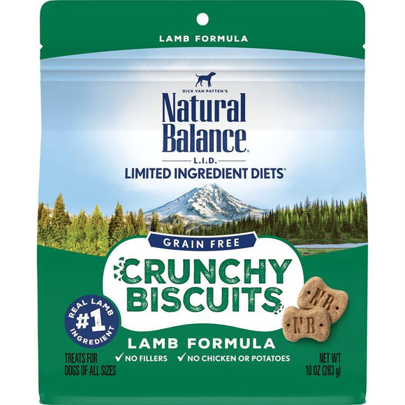 Natural Balance Dog LID Crunchy Biscuits Lamb Formula Treats 10oz Dog Treats Natural Balance