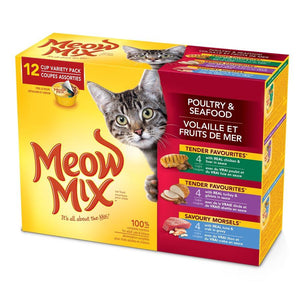 Smuckers Meow Mix Tender Favourites Poultry & Seafood Variety Pack 4x12/78g Cat Food J.M.Smuckers