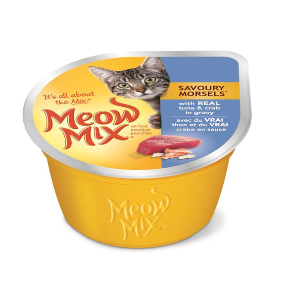 Smuckers Meow Mix Savoury Morsels Tuna & Crab Wet Cat Food 24/78g Cat Food J.M.Smuckers