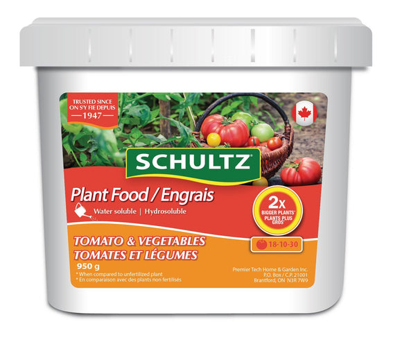 Schultz Water Soluble Plant Food Tomatoes & Vegetables 18-10-30 950g Lawn and Garden Schultz