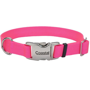 Coastal® Adjustable Dog Collar with Metal Buckle - 5/8in x 10-14in Neon Pink KB Depot Express