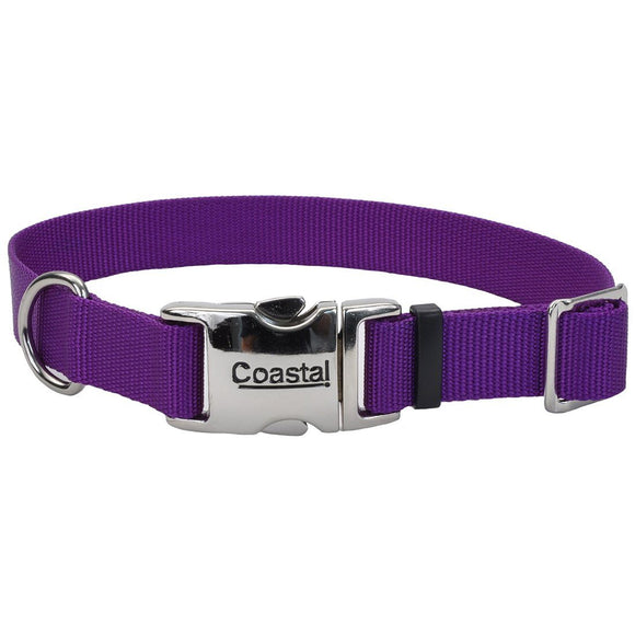 Coastal® Adjustable Dog Collar with Metal Buckle - 1in x 18-26in Purple KB Depot Express