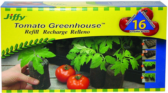 Jiffy Tomato Greenhouse Refill (16 Peat Pellets) Lawn and Garden Jiffy