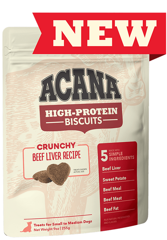 Acana High Protein Biscuits 255g Dog Treats Champion Pet Foods Crunchy Beef Liver Recipe - Small