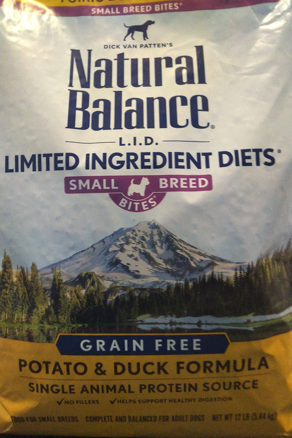 Natural Balance Dog LID Potato & Duck Small Breed Bites Formula 12LB Dog Food Natural Balance