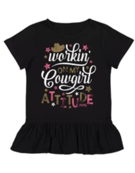 Toddler Farm Girl Cowgirl Attitude Tee Shirt Farm Girl 2T