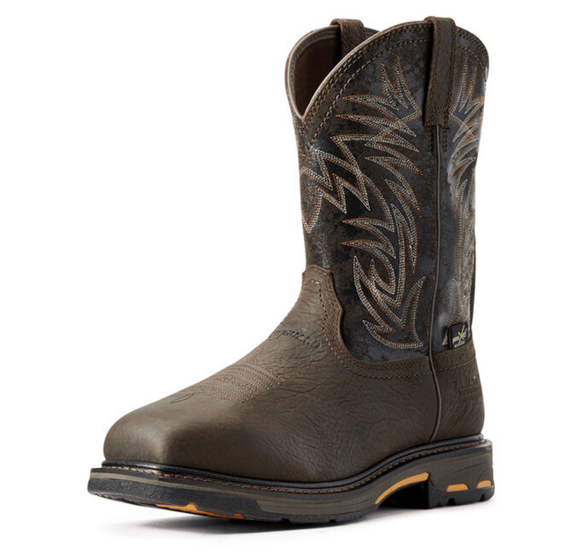 WorkHog Wide Square Toe MetGuard Waterproof MetGuard Composite Toe Work Boot Boots Ariat Bruin Brown / Black 9 EE