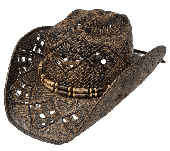 Modestone Unisex Straw Cowboy Hat Brown Dark Brown KB Depot Express