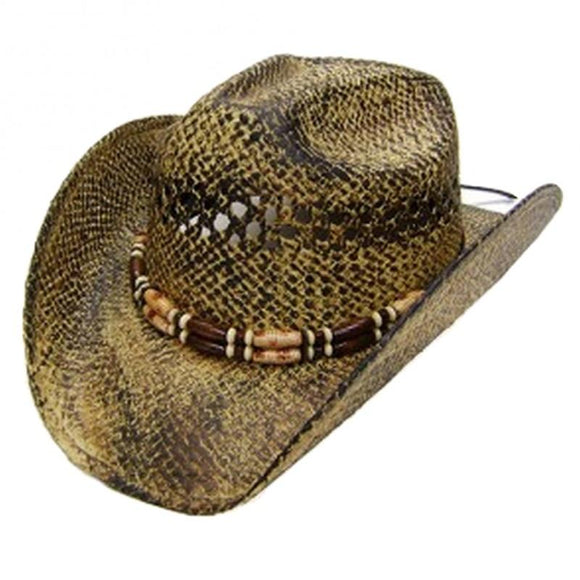 Modestone Unisex Cool Straw Cowboy Hat Light Yellow Black KB Depot Express