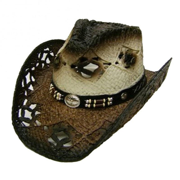 Modestone Unisex Straw Cowboy Hat Brown Off White KB Depot Express