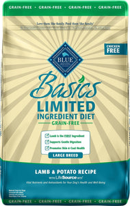 Blue Basics Limited Ingredient Large Breed Adult Grain Free Lamb & Potato Recipe 22LB Dog Food Blue Buffalo