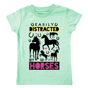 Farm Girl Toddler Easily Distracted By Horses Toddler Shirt Shirt Farm Girl 3T