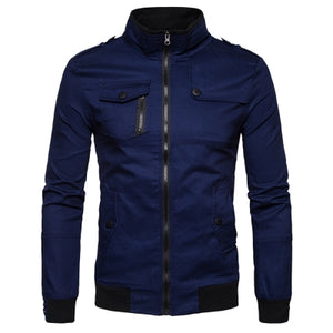 Epaulet Design Pockets Zip Up Cargo Jacket