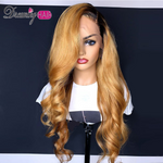 180% Density Brazilian Body Wave 613 Honey Blonde Lace Front Wig With Baby Hair 13x4 Remy Human Hair Wavy Wig