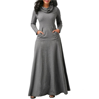Plus Size Casual Pocket Long Sleeve Dress