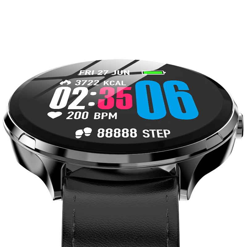 Kospet V12W  Heart Rate / Blood Oxygen Monitoring / Breathing Light / Tempered Glass Leather Smart Watch