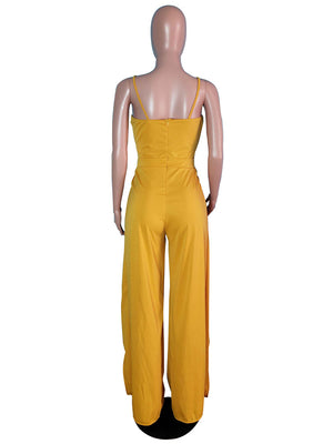 Spaghetti Strap Twist Bow Split Wide Leg Jumpsuit