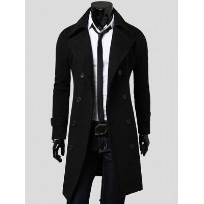 Lapel Collar Double Breasted Longline Coat
