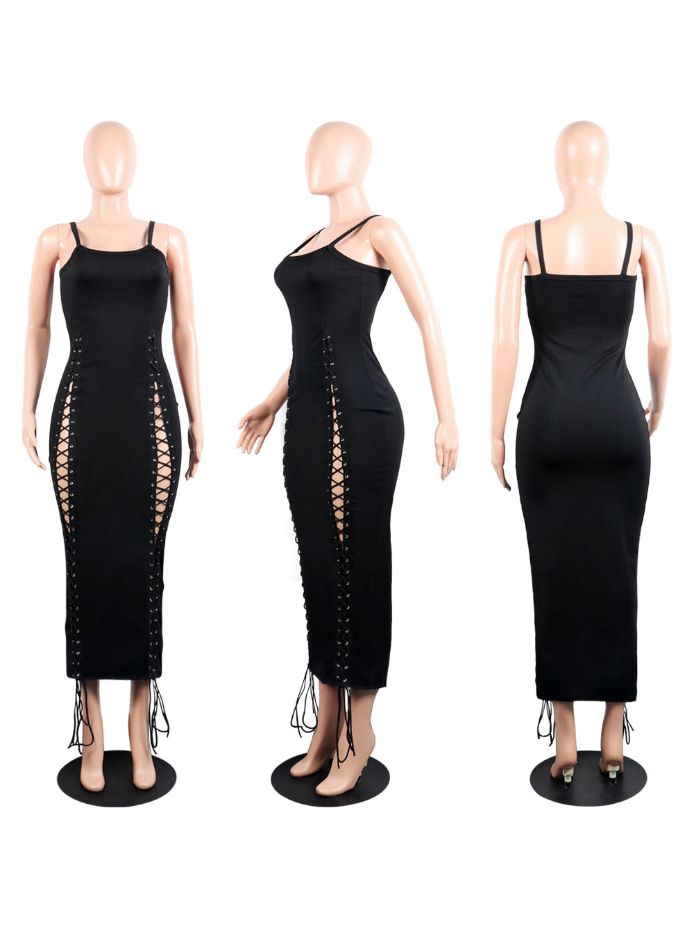 Night Club Bandage Eyelet Womens Black Maxi Dress
