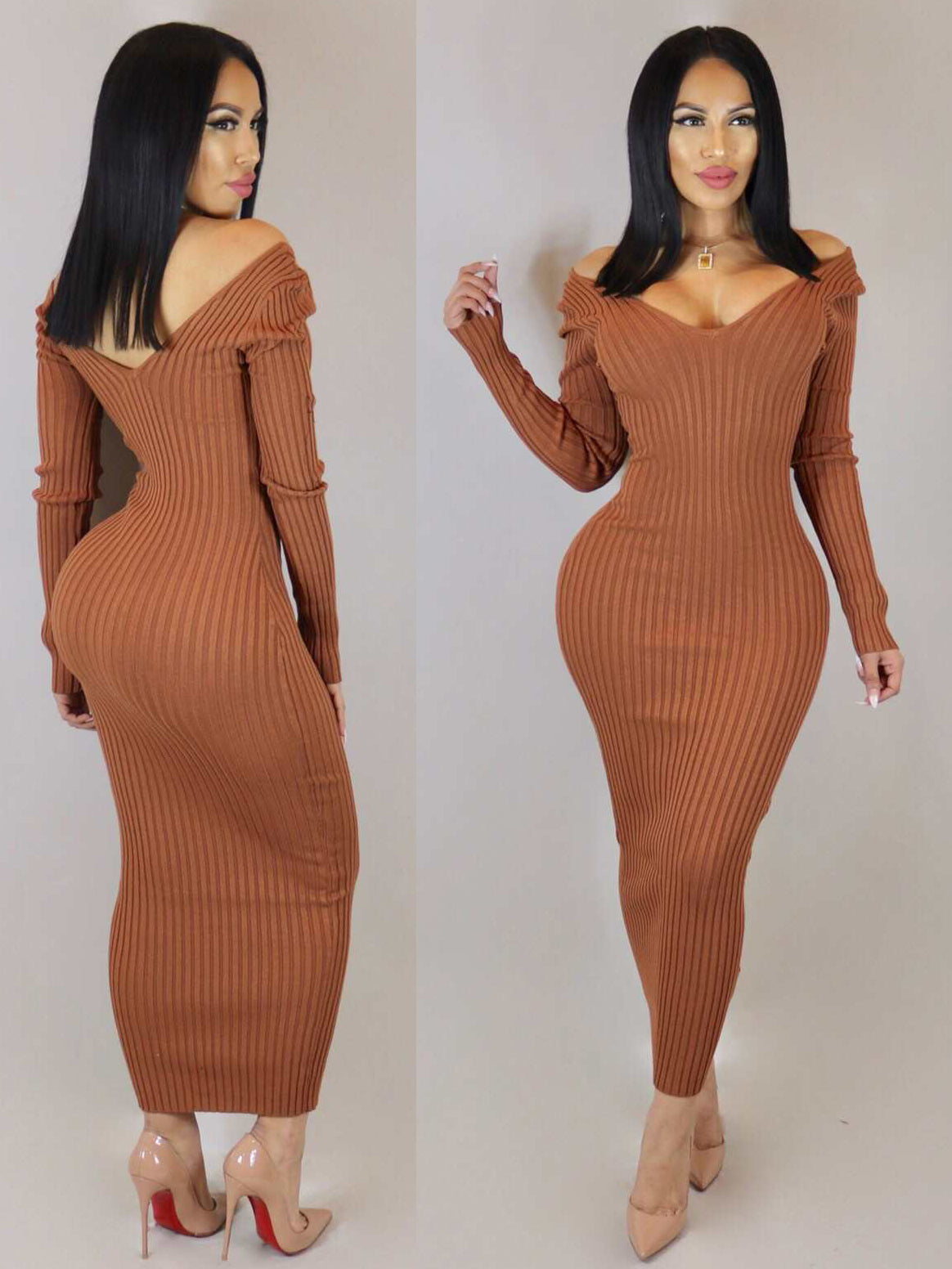 Springy Knitting Long Sleeve Slim Bodycon Maxi Dresses