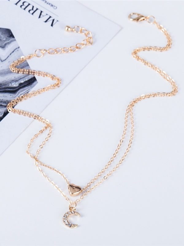Fashion Double Layer Heart Moon Ladies Necklace