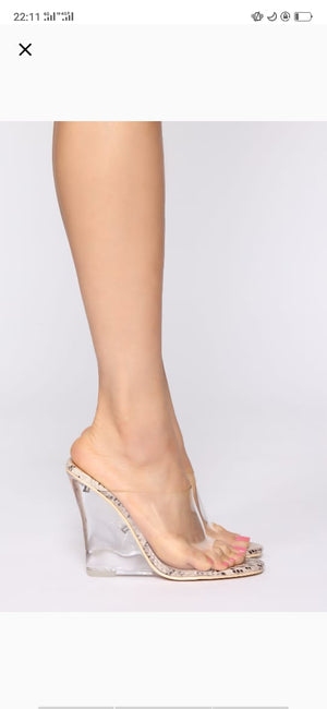 TRANSPARENT GLASS HEEL SHOES FOR WOMEN