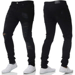 Solid Fitted Men Ripped Jeans