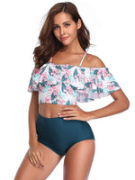 Fashionable Flower Printed Ruffles Sleeves Bikini Set