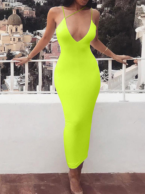 Sexy V Neck Low-Cut Sleeveless Bodycon Dress