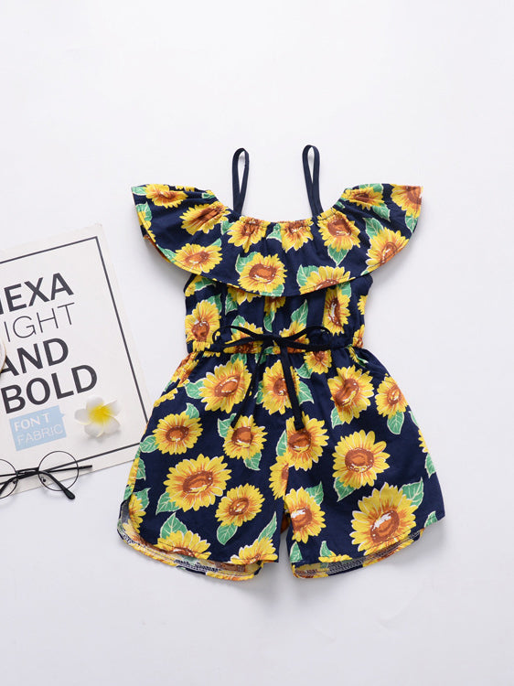 Sunflower Bow Ruffles Sleeve Girls Romper