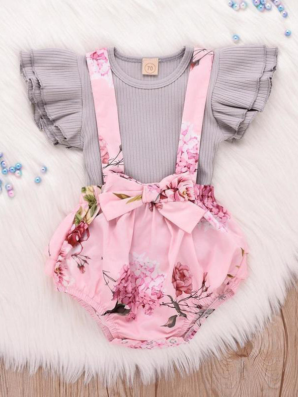 Summer Petal Sleeves Floral Baby Girls Set