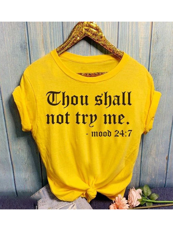 Mood Letter Short Sleeve Cotton T Shirt