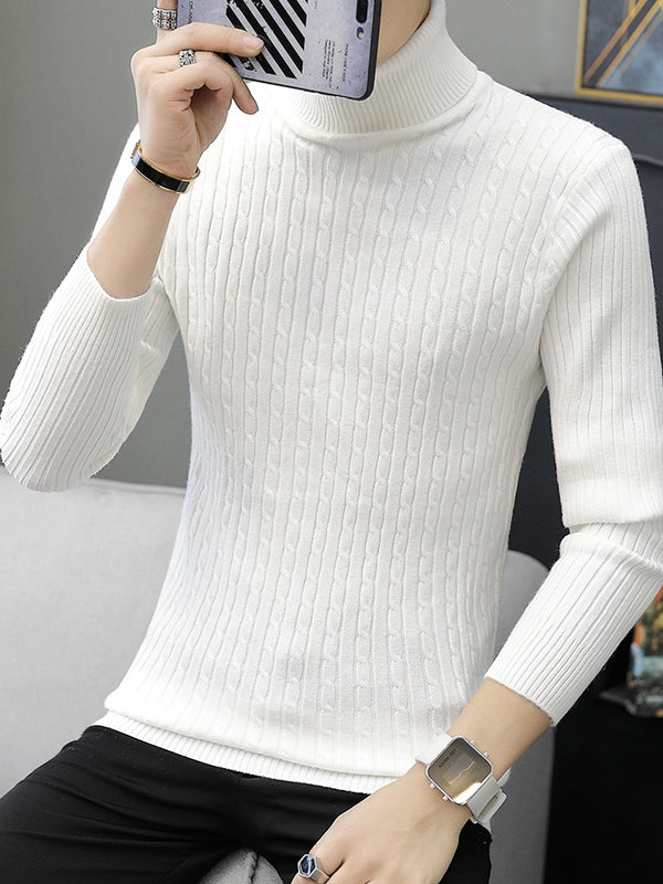 Turtle Neck Solid Color Knitted Sweaters For Men