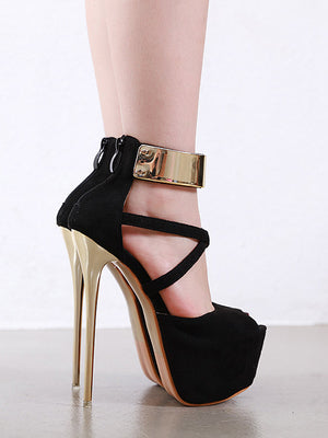 Stylish Suede Patchwork Super High Platform Heels