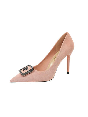 Suede Metal Splicing Pumps Shoes