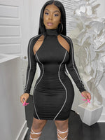 Seductive Hollow Out Long Sleeve Bodycon Dress