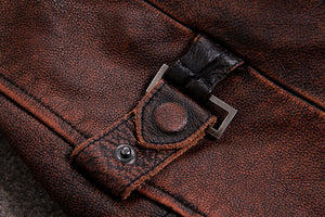 HARLEY DAMSON Vintage Brown Men American Casual Style Leather Jacket Genuine Thick Cowhide Autumn Leather Coat