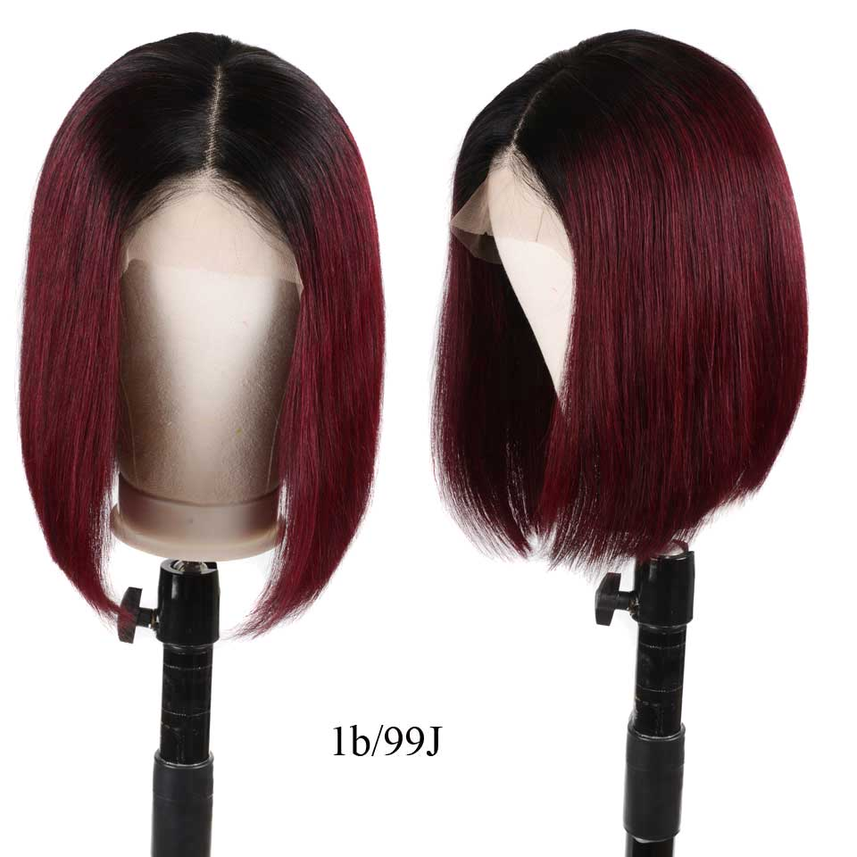 13x6 Lace Front Human Hair Wigs 1B/99j Short Bob Straight Lace Front Wigs Colored Ombre Brazilian Wig For Black Women