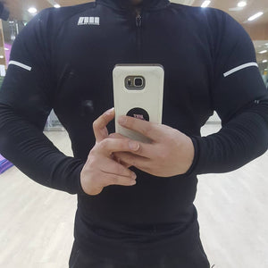 Men Long Sleeves Elasticity Tight T-shirts Muscle Men Gyms Fitness Bodybuilding J