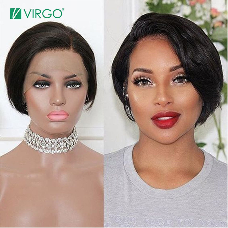 Short Bob Pixie Cut Brazilian Wig Lace Front Human Hair Wigs Pre-Plucked Hairline