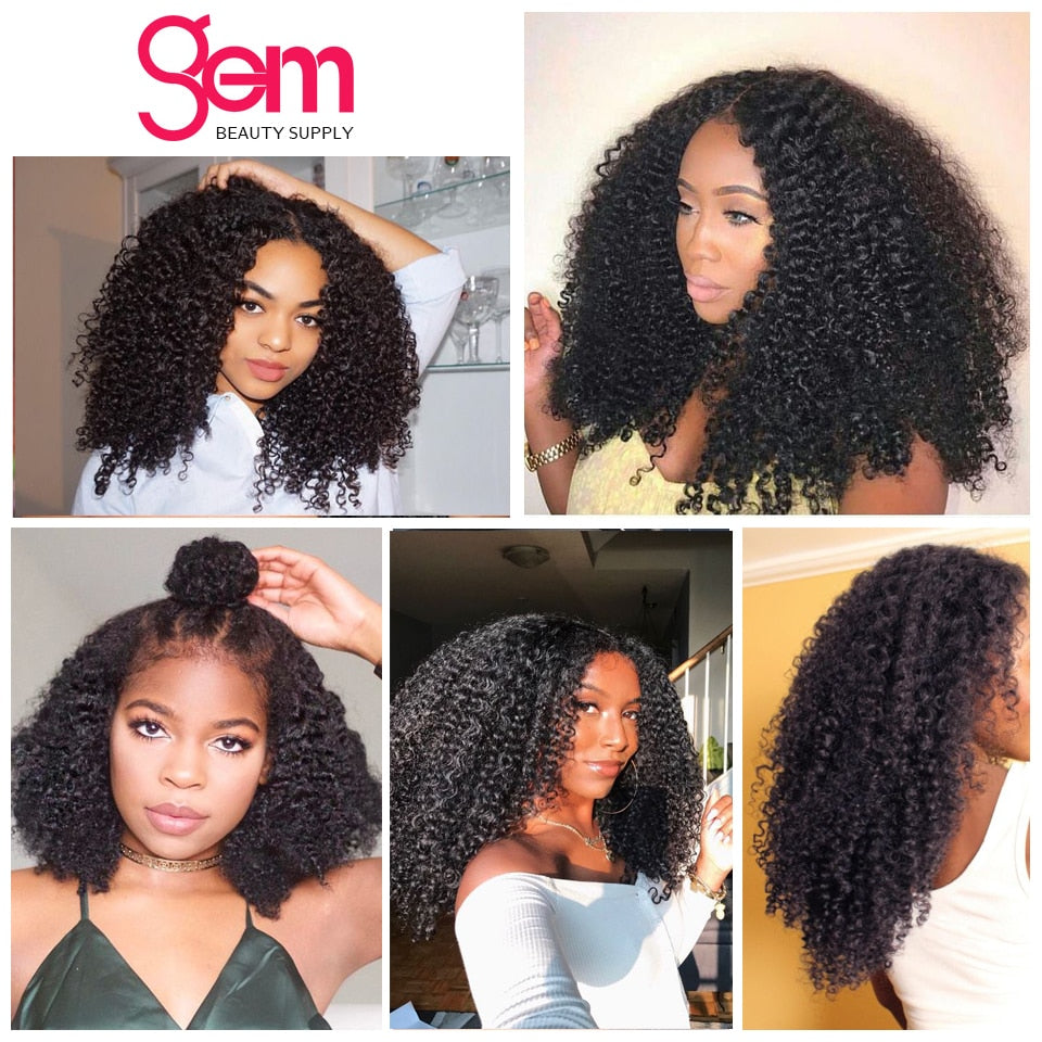 Afro Kinky Curly Wig Pre Plucked Lace Frontal Human Hair Wig  Mongolian Remy Hair