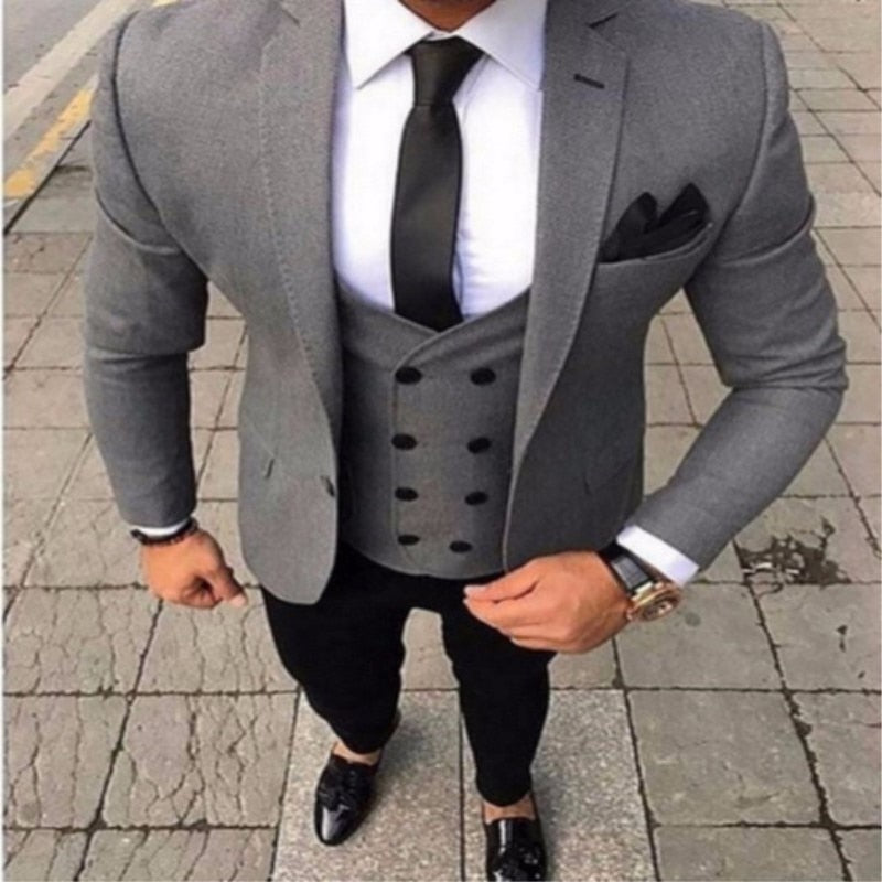 Tailored Smoking Gray Men Suit Slim Fit 3 piece Tuxedo Groom Wedding Suits Jacket Customized Ball Blazer 319