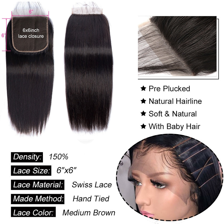 Lace Closure Brazilian Straight Human Hair Closure With Baby Hair Natural Color